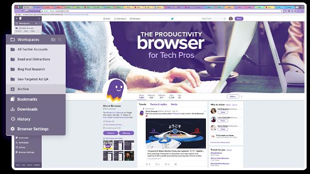 متصفح ghost browser لفتح اكثر من حساب