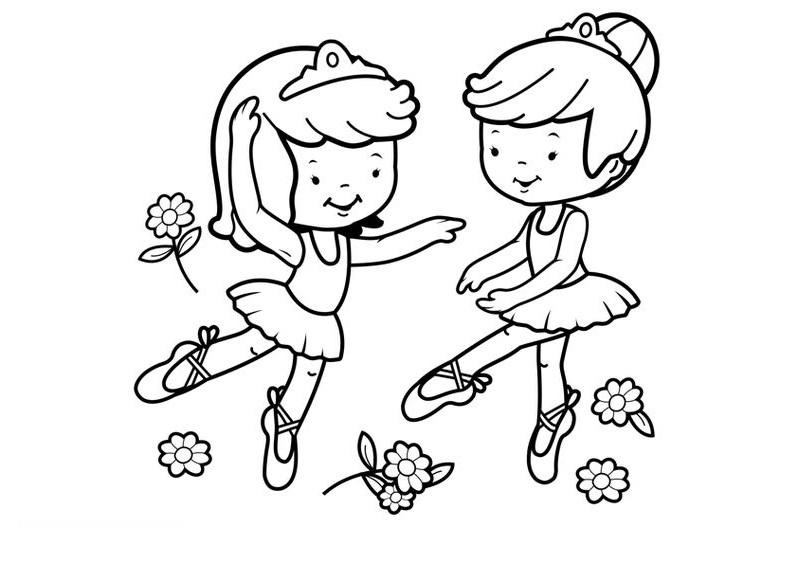 Hình tô màu hai bé gái múa bale
