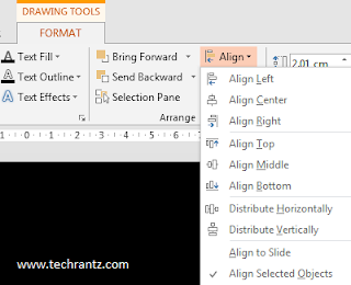 Image showing where to locate Align feature in Powerpoint, under Drawing Tools > Format > Arrange