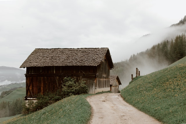 House near rough road