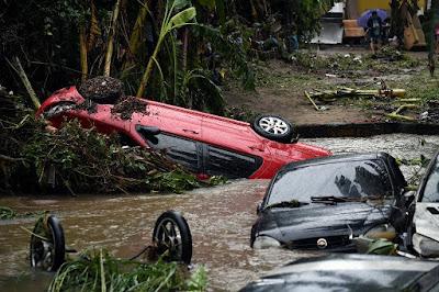 devastating torrential rain and flooding hit Brazil