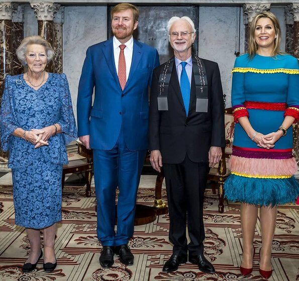 Queen Maxima wore Claes Iversen colorfull dress. Princess Beatrix. American composer and conductor John Adams
