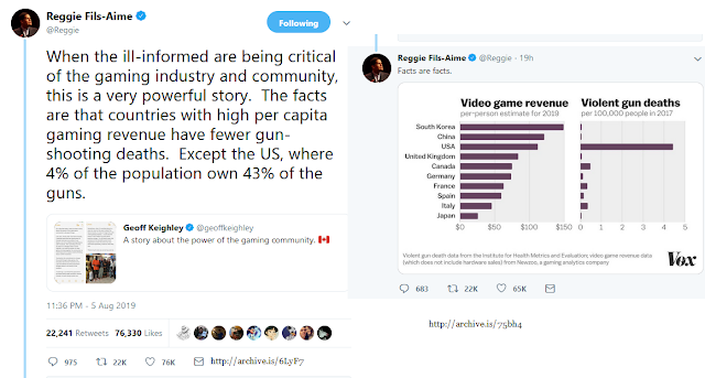 Reggie Fils-Aime Nintendo president gun violence video game revenue tweet facts