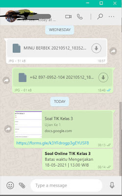Membagikan soal online di whatsapp