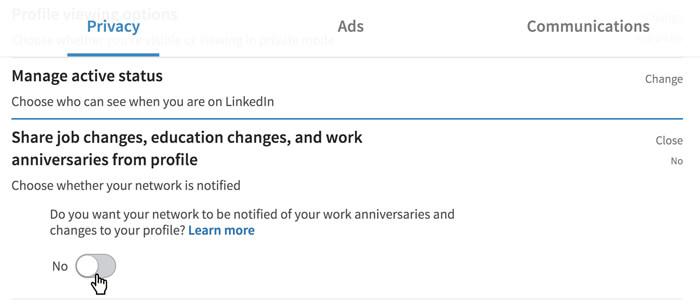 لقطة شاشة لخيار خصوصية LinkedIn