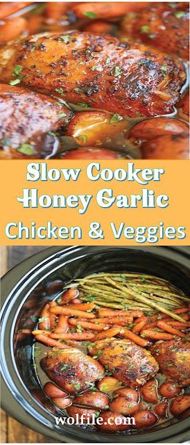 Slow Cooker Honey Garlic Chicken And Veggies Recipe #Vegan #Chicken
