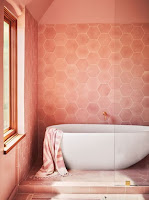 Pink bathroom with white tub