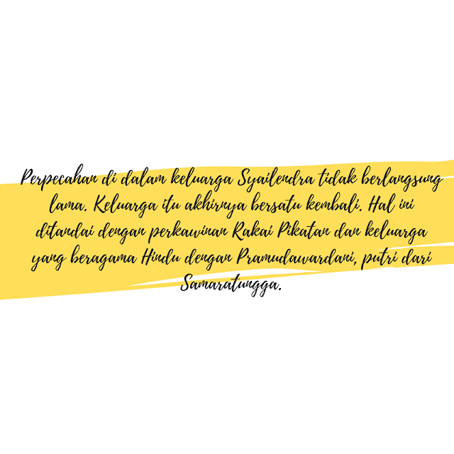 Perpecahan di dalam keluarga Syailendra di Kerajaan Mataram Kuno