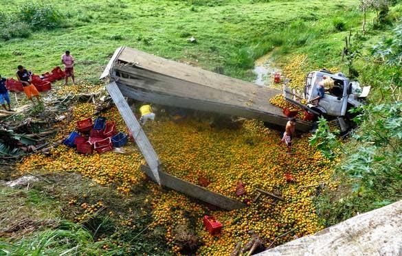 Laje: Caminhão carregado de laranjas tomba na BR-420