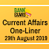Current Affairs One-Liner: 29th August 2019