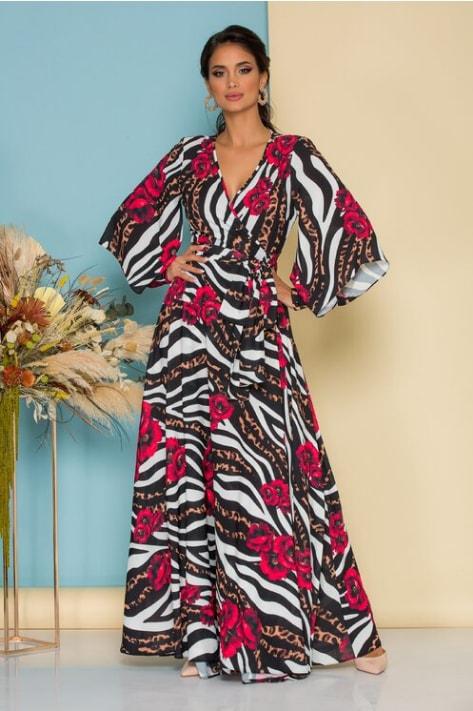 Rochie eleganta Catalin Botezatu lunga cu imprimeu floral si animal print