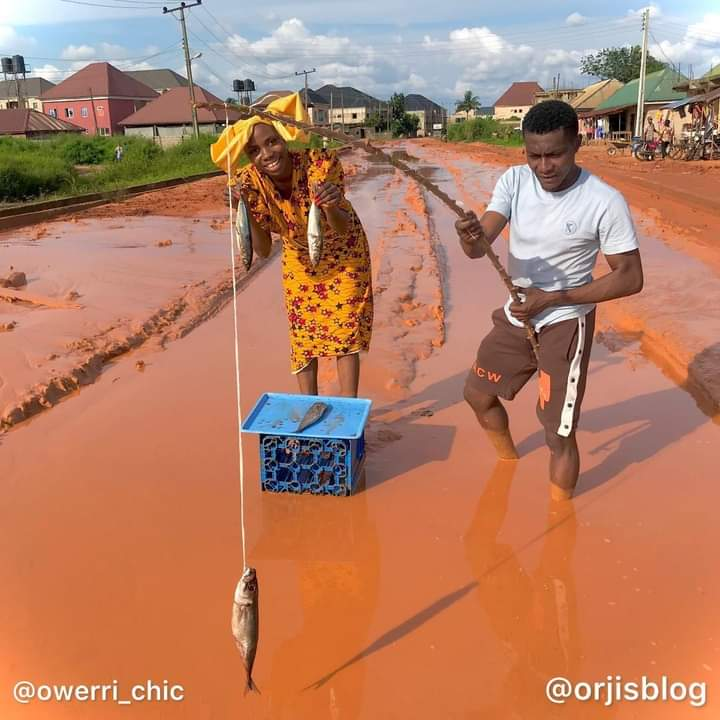 Months After 'Honeymooning' On Bad Imo Road, Couple Returns For 'Fishing Trip'