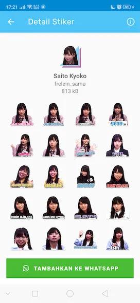 Cuplikan Aplikasi Sticker WhatsApp Hinatazaka46