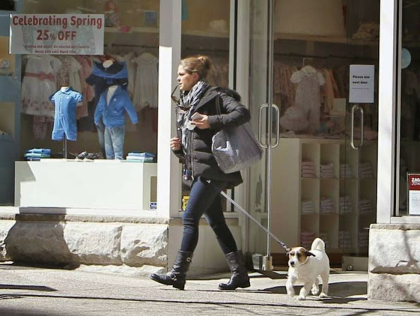 with dog Zorro - Princess Madeleine of Sweden shops baby daughter Princess Leonore in NYC