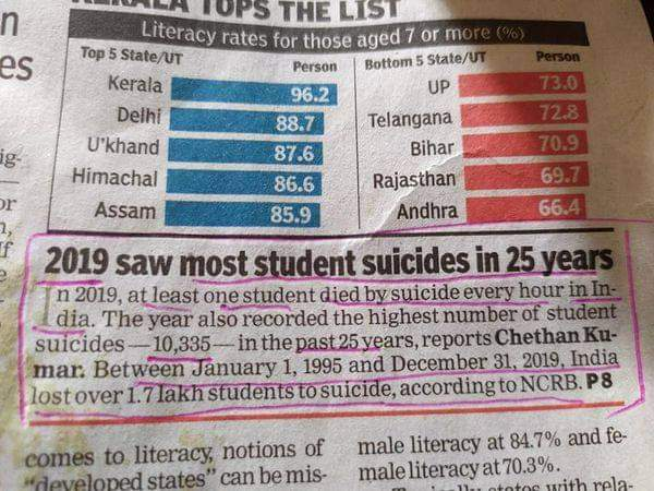 article talking about the rise in India's suicide statistics