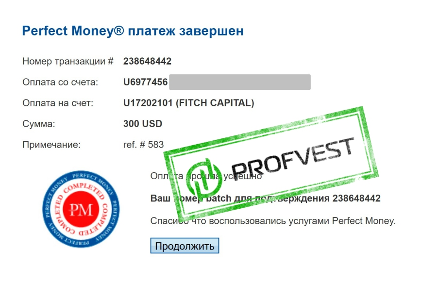 Депозит в Fitch Capital 1