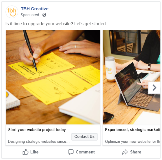 Facebook carousel ad example