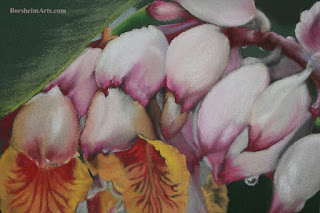 Raindrops on Shell Ginger - original pastel painting art [detail]
