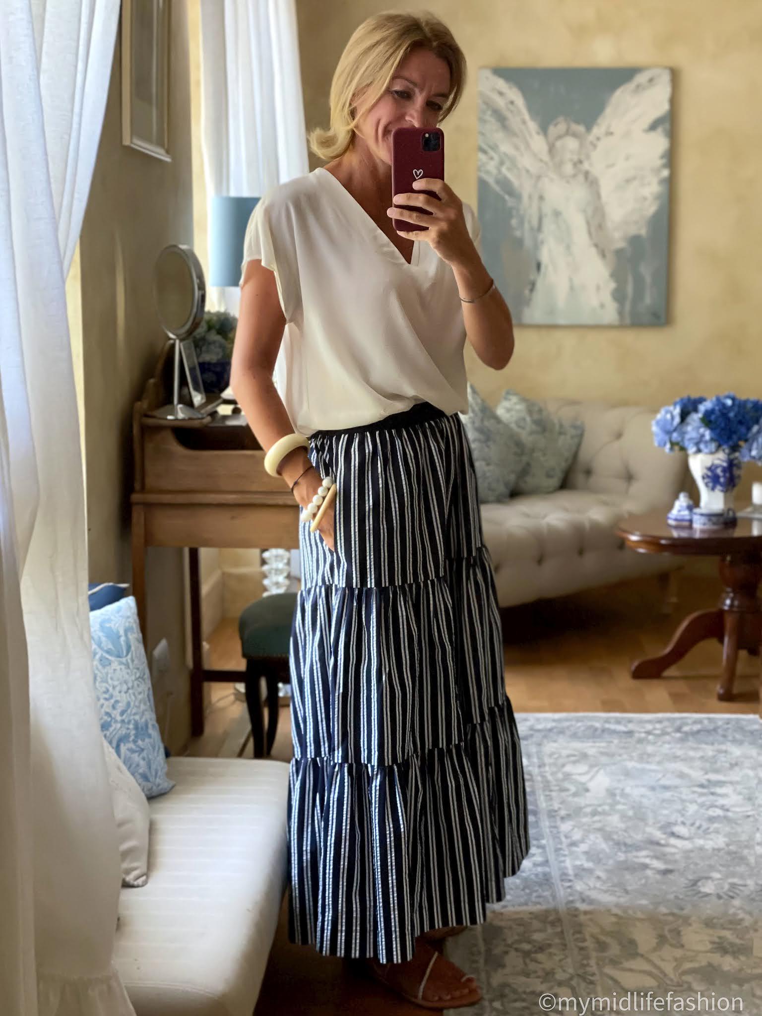 my midlife fashion, Alexis silk blouse, parosh maxi skirt, speak out chris braided gold classic sandals