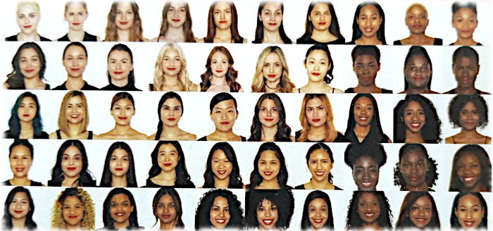 Faces of 50 women with different skin tones