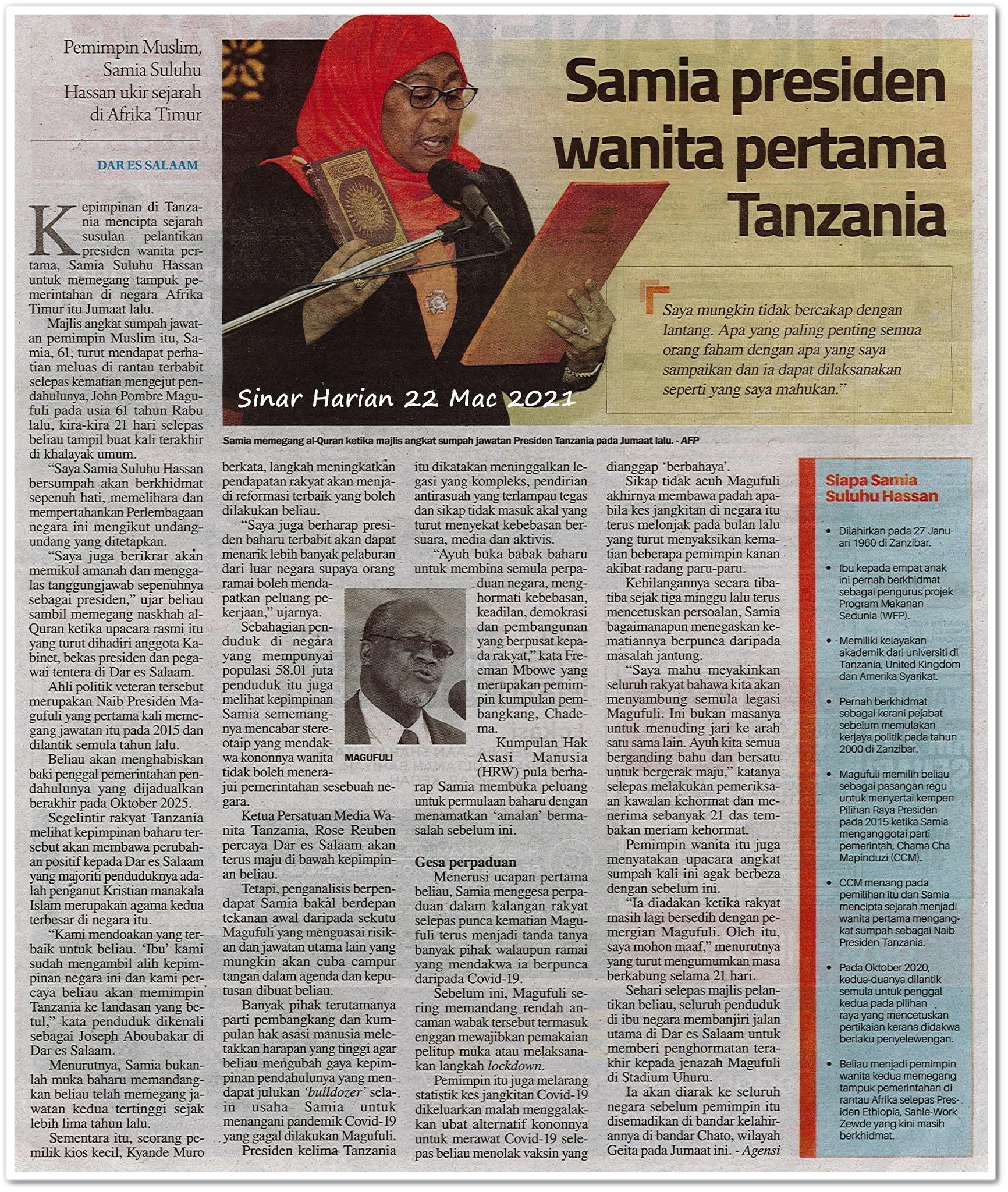 Samia presiden wanita pertama Tanzania - Keratan akhbar Sinar Harian 22 Mac 2021