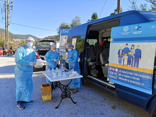 Η Κινητή Ομάδα Υγείας (ΚΟΜΥ) του ΕΟΔΥ πραγματοποιήσε την Δευτέρα 14/12 δωρεάν δειγματοληψίες σε πολίτες - για ανίχνευση/ ασυμπτωματικών φορέων Covid 19 (καθώς αυτοί προσέρχονταν με τα αυτοκίνητά τους) στην Πάργα. Από το σύνολο των 93 δειγμάτων που λήφθηκαν δεν ανιχνέυτηκε κανένα κρούσμα.