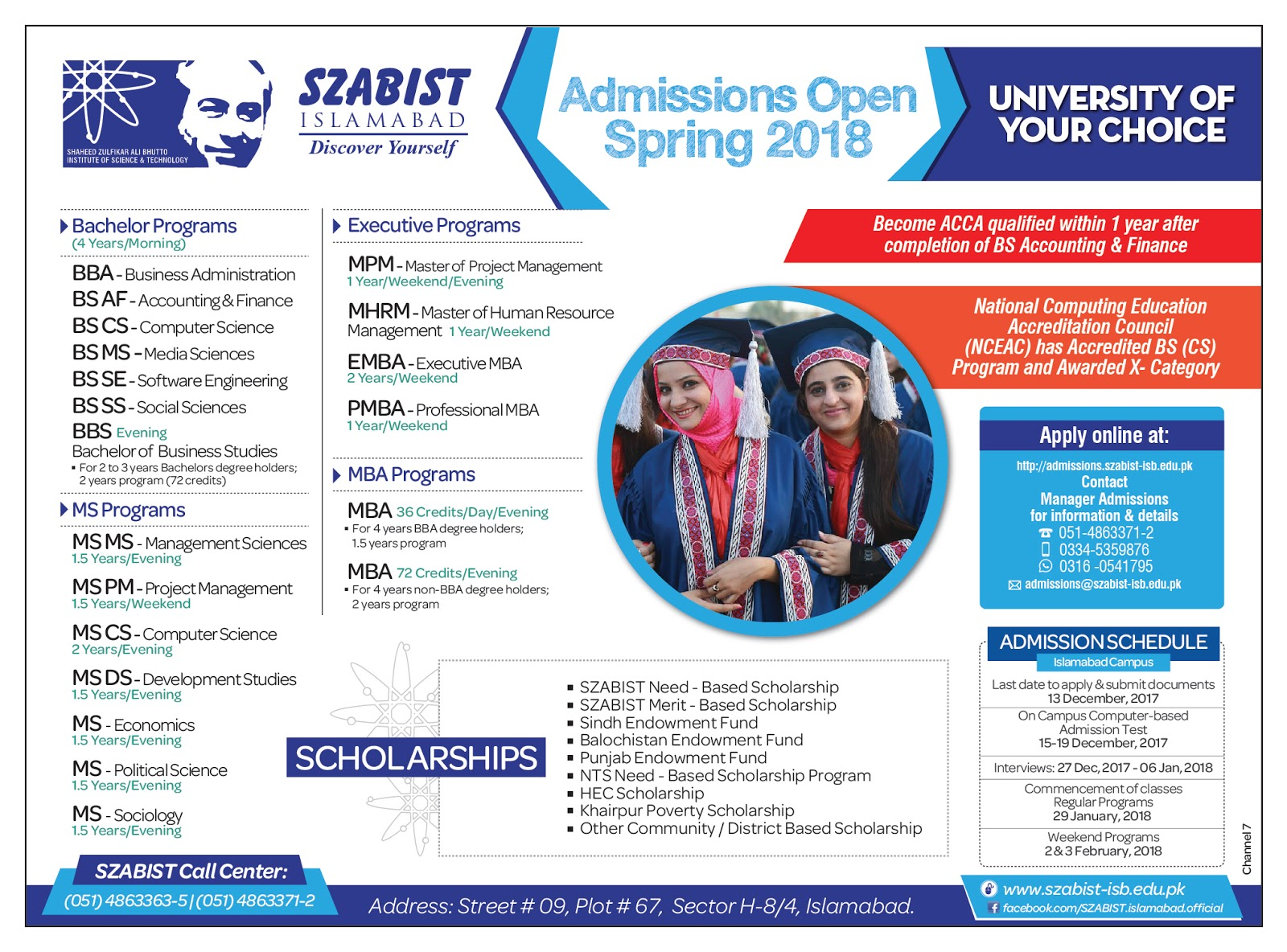 Admissions in Shaheed Zulfikar Ali Bhutto Institute of Science and Technology - SZABIST