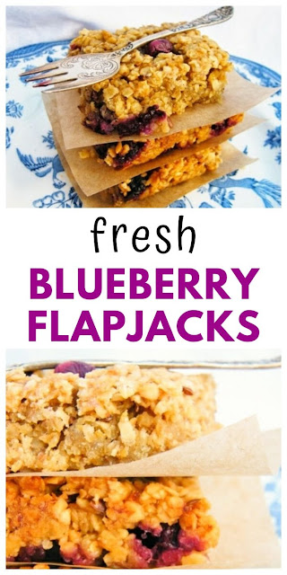 Scottish Fresh Blueberry Oat Flapjacks. Scottish oaty snack bars studded with fresh blueberries, banana and seeds. #flapjacks #scottishflapjacks #snackbars #energybars #oatbars #blueberryflapjacks #porridgeoats #blueberries