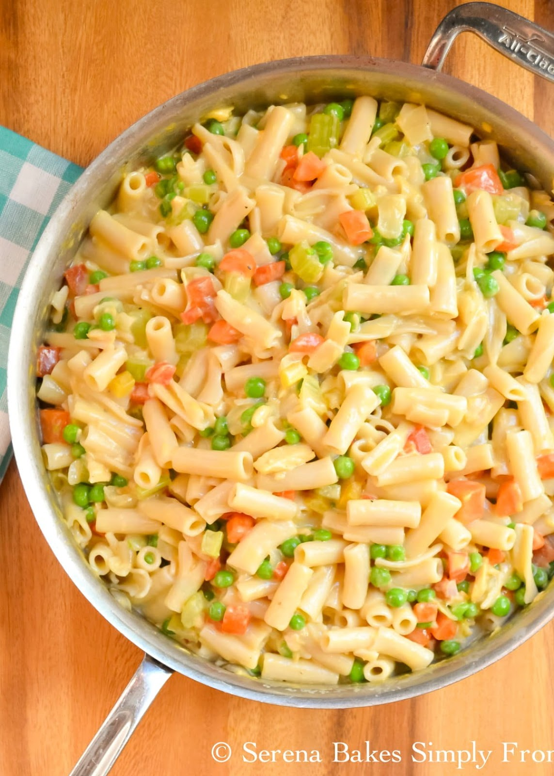 Homemade Tuna Helper Recipe in a cheesy sauce with a gluten free option made with pantry staples in one pot for a delicious dinner on a budget from Serena Bakes Simply From Scratch.