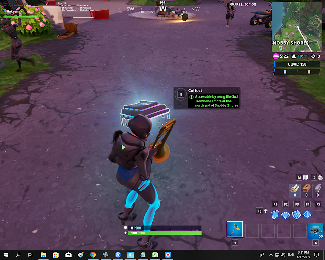 Accessible by using the Sad Trombone Emote at the north end of Snobby Shores FORTBYTE Mission #58