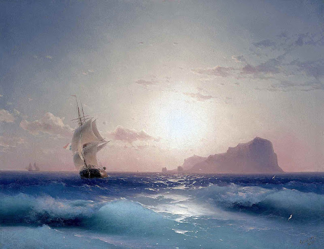 an Ivan Aivazovsky painting of a ship passing an island in silhouette