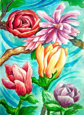 magnoliowe kwiaty w wersji kredkowej