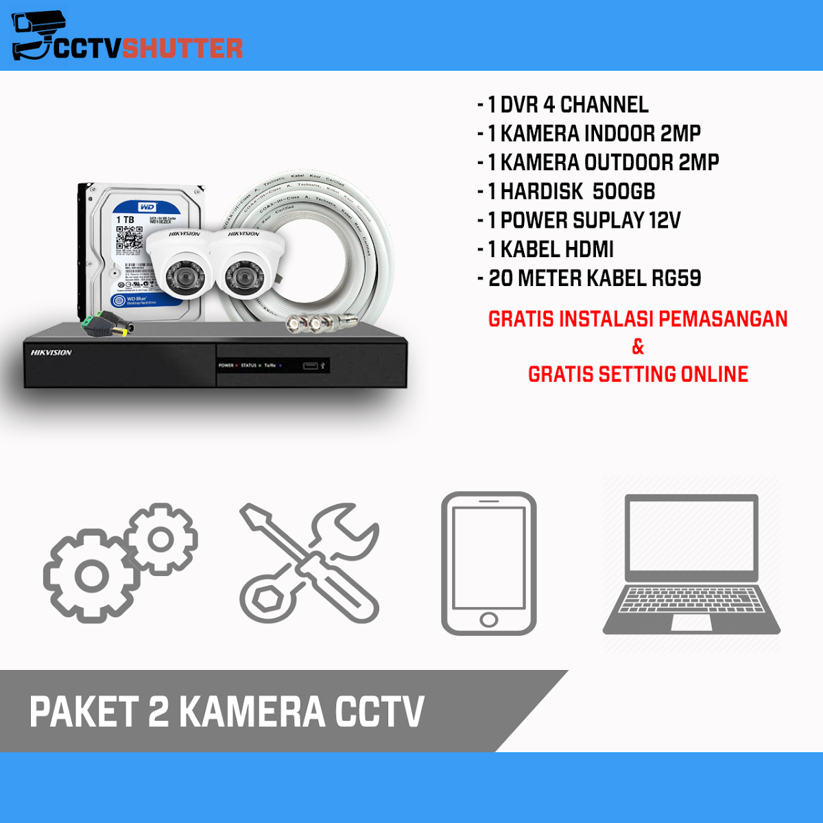PASANG 4 KAMERA 2MP CCTV ONLINE MURAH