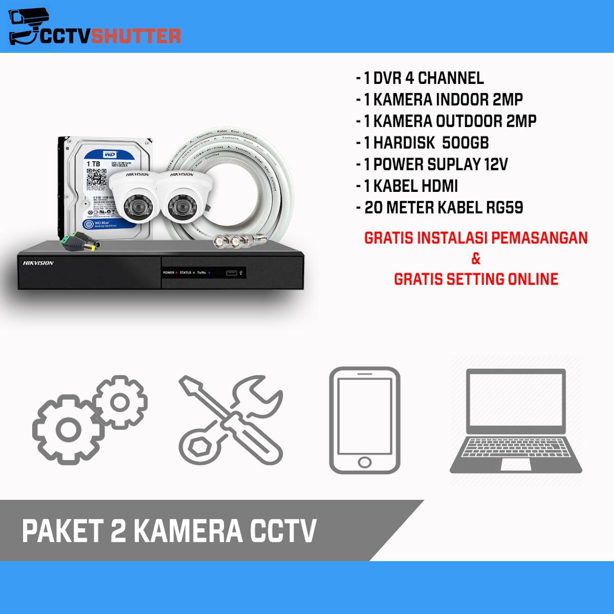 PASANG 8 KAMERA 2MP CCTV ONLINE MURAH