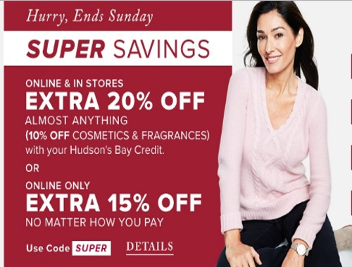 Hudson's Bay Super Savings Up To 20% Off Promo Code