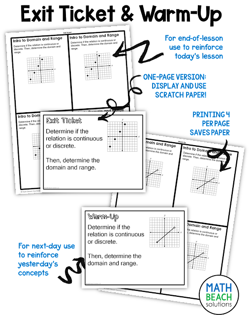 Texas Algebra 1 Warm Up and Exit Ticket