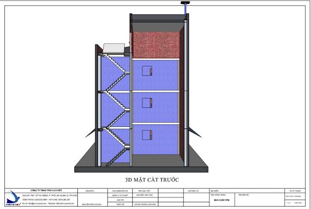Bản vẽ thiết kế nhà yến mặt cắt đứng nhìn từ trên xuống tại Tri Tôn An Giang