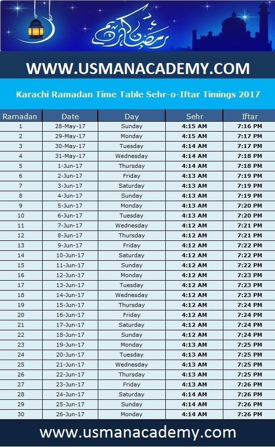 2017 share on facebook karachi ramadan calendar