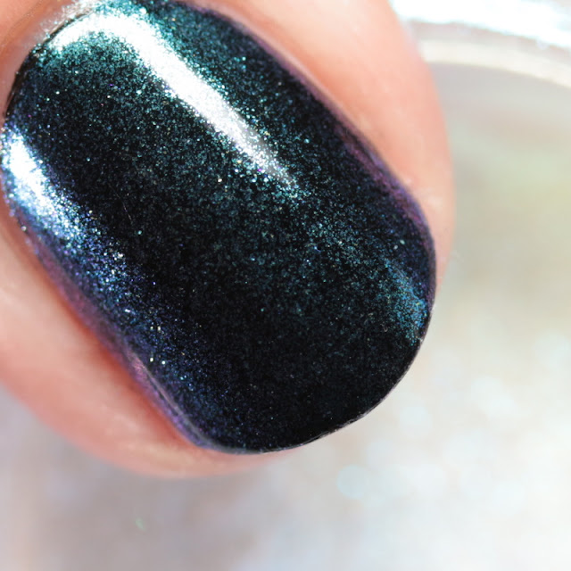 Girly Bits SFX Duo-Chrome Powder Gaze over black polish