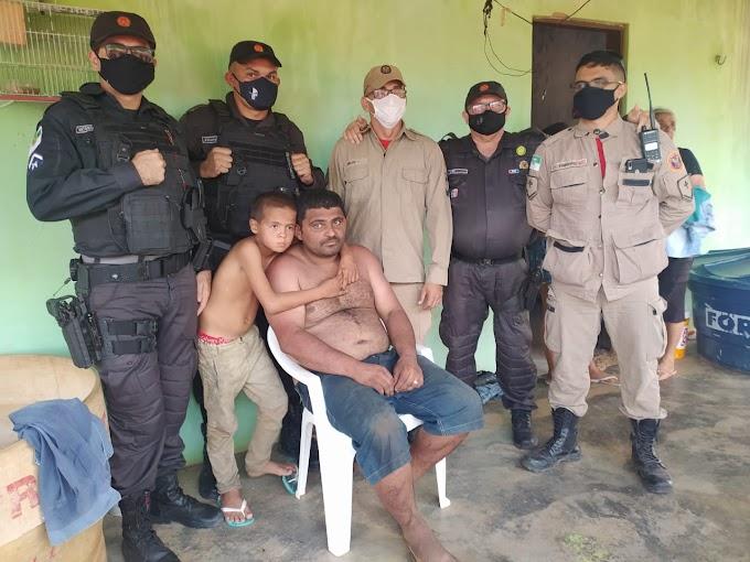 Policia Militar e Corpo de Bombeiros resgatam pai e filho que estavam perdidos na mata há mais de 24h em Areia Branca