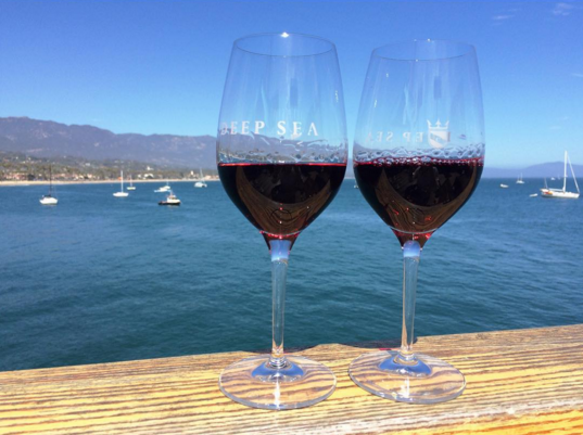 wine tasting with view of ocean and boats
