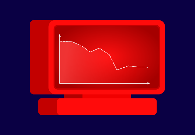 An animated image with a computer screen with a graph drawn on it