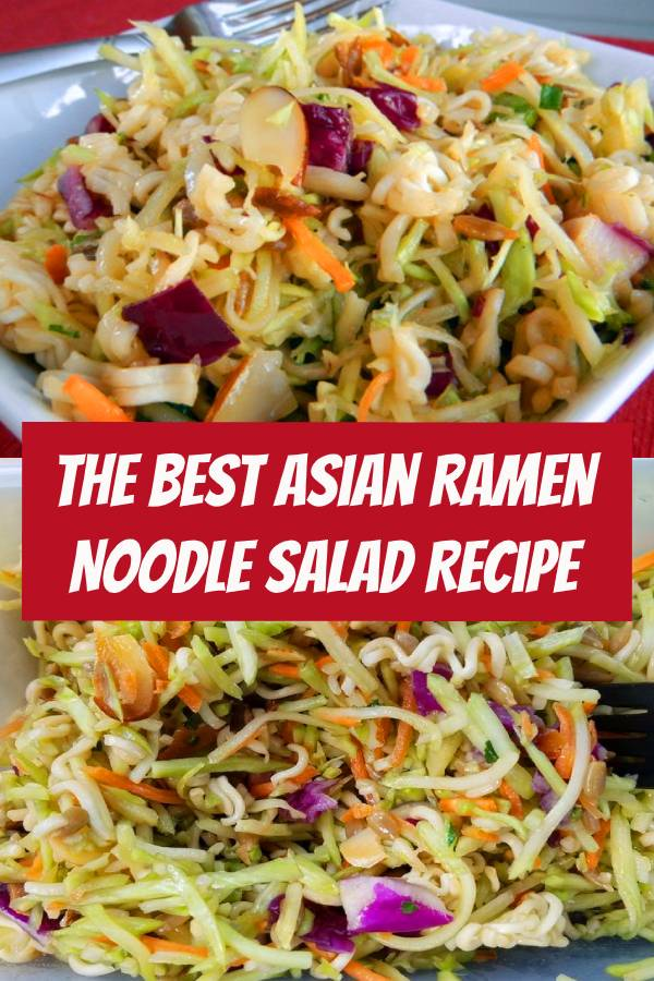 This Asian Ramen Noodle salad takes 20 minutes to whip together and can be made the night before. Easy, quick and one of our favorite salads! Great for party, funeral, pot luck or baby shower. #salad #sidedish #asian #coleslaw #slaw #asiancoleslaw #ramennoodle #almonds #potluck #recipes