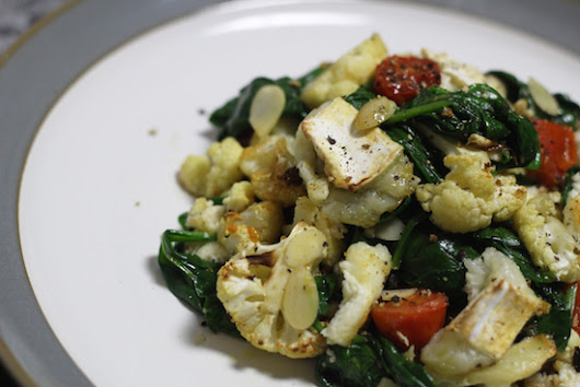 honey roast cauliflower, spinach and goat's cheese salad.