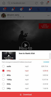 download popup menu for facebook video on vidmate app