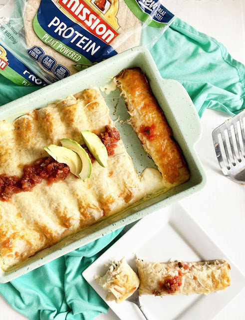 fiesta cream cheese chicken enchiladas #ad #MissionFoods #MissionProteinTortillas