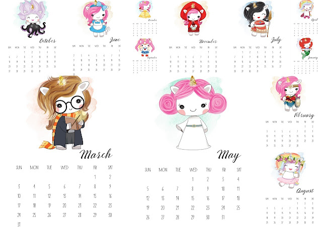 Birthday, Calendar, free printables, Nice Gifts, Souvenirs, Unicorns,