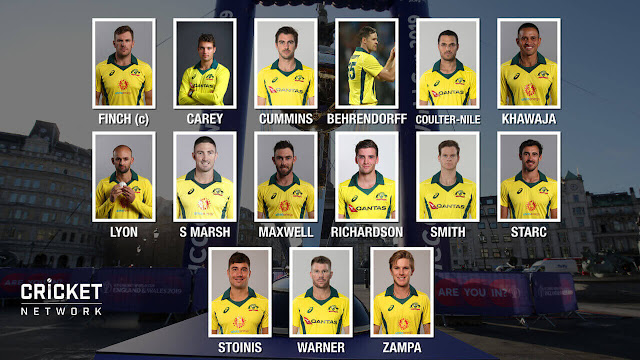 Australian's Squad For Cricket World Cup 2019