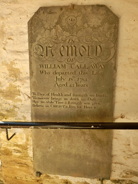 A memorial from 1784 for William Callaway, St.Clement church, Cornwall