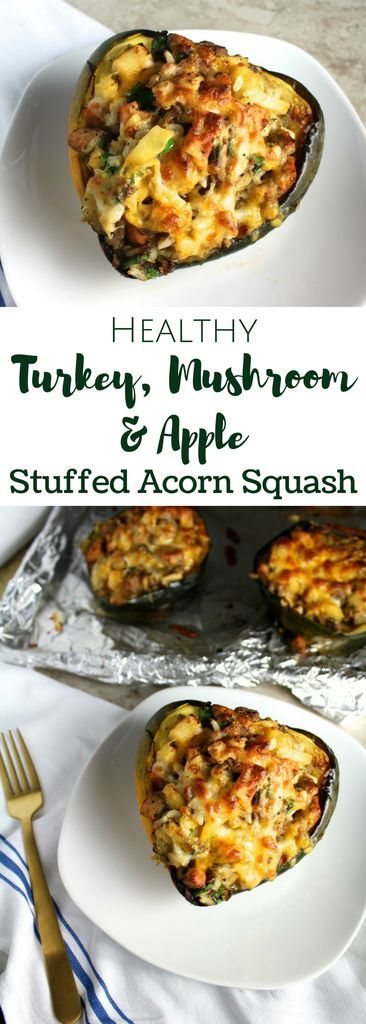 Turkey Mushroom Apple Stuffed Acorn Squash #Turkey #appetizer